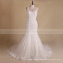 Vestido de boda del cordón y de los granos del Applique del delicado de la sirena backless atractiva sin mangas