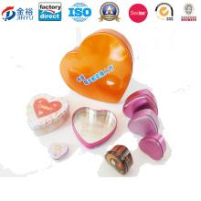 Boîte en étain en forme de coeur en métal imprimé personnalisé Jy-Wd-2015122813
