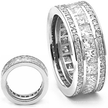 Wedding Ring Band Jóias de prata esterlina 925 com diamante de almofada