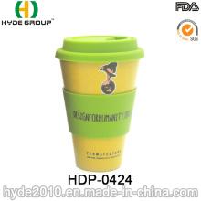 Taza de bambú respetuosa del medio ambiente modificada para requisitos particulares del viaje de la taza de café de la fibra (HDP-0424)