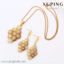 63794 Xuping Fashion Ohrring Anhänger 18K Gold Flower Piece Schmuckset