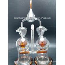 High Quality Glass Water Pipe Double Chambers Recycler with Ball Perc and Inliner Perc