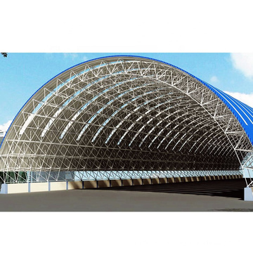 New Designs Steel Space Frame Cement Plant Arched Roof Construction