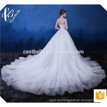 El último diseño magnífico de lujo blanco encaje de tela Appliqued vestido de novia sin tirantes Alibaba Sweetheart hermoso vestido de novia