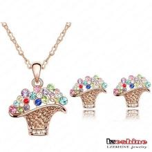 Swa Elements Crystal Flower Basket Ensembles de bijoux 4colors (ST0007-C)