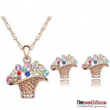 Swa Elements Crystal Flower Basket Jewelry Sets 4colors (ST0007-C)