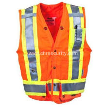 High Visibility Orange Pocketed Surveyors' Safety Vest