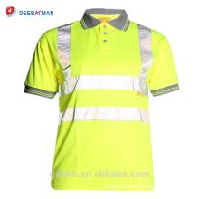 Oi Viz Cinza Collar Segurança Desgaste do Trabalho En471 Alta Visibilidade Polo T-shirt Oi Vis Amarelo Pólo de Manga Curta Camisa de Trabalho
