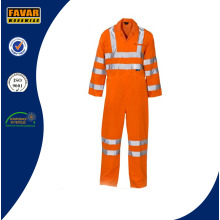 Orange Safety Waterproof 300d Oxford High Visibility Rain Coverall