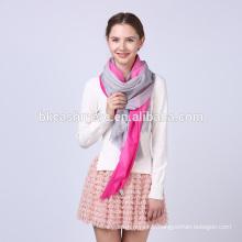 Alibaba express nouveau modèle tricot rose rouge et gris doux 100% laine écharpes