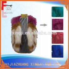 design de moda de cor tingida sem mangas colete de guaxinim real de malha