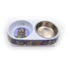 Base redonda doble de melamina para mascotas