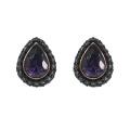 Fashion Teardrop Stud Earrings with Amethyst CZ