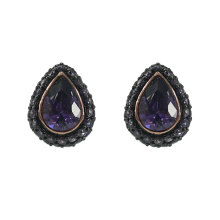Fashion Teardrop Ohrstecker mit Amethyst CZ