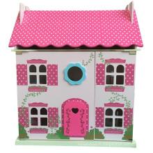 Maison de poupée rose jouet en bois bricolage vente pour les enfants et les enfants