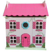 Hot Sale DIY Wooden Toy Pink Doll House for Kids and Children