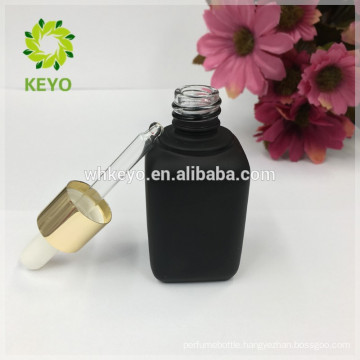 30ml matte black rectangle square glass dropper bottles essential oil packing bottle