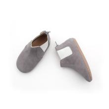 أحذية رمادي خاص للأطفال جلد طبيعي سستة