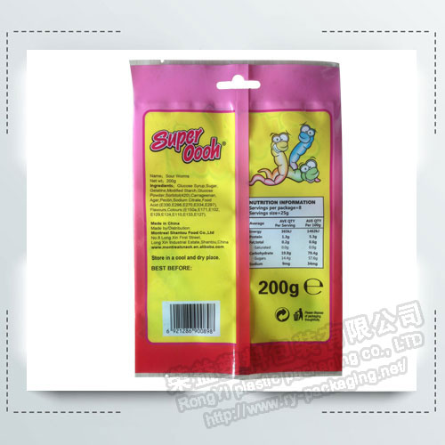 Back Sealing Snack Packaging Bags with Hanging Hole