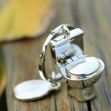 Silver Stainless Steel Toilet Keychain