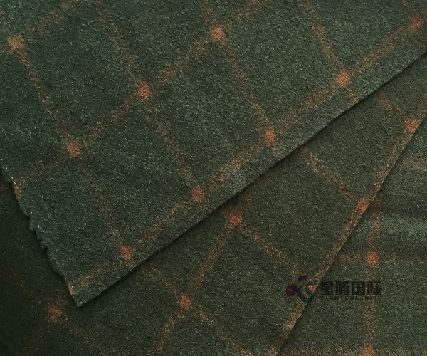 Olive Check Wool Nylon Blend Fabric
