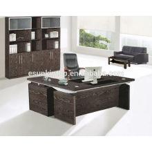 Новый дизайн роскошный деревянный офисный стол со стеклянным декором на столешнице