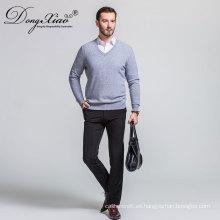 Suéter gris de alta calidad barato de los Knitwear del color del cuello de la camiseta de encargo para los hombres