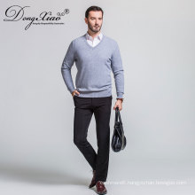 High Quality Cheap Custom T Shirt Collar Grey Color Knitwear Sweater For Mens