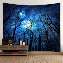 Starry Tapestry Galaxy Tapestry Night Sky Wall Hanging Forest Tapestry Tree Tapestry Drukowanie 3D Wall Art do salonu Bedroo