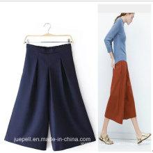 OEM de alta qualidade elegantes senhoras de moda perna larga calças