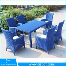 Nuevo diseño conjunto de mesa de comedor al aire libre de mimbre redondo de Filipinas