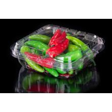 Caja desechable de plástico para vegetales frescos con tapa