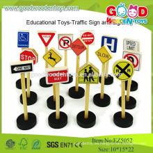 2015 Newset Mini Traffic Set Señal de tráfico de madera niños juguetes educativos Set