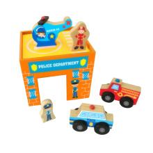 6PCS véhicules en bois de secours jouent le jouet pour des enfants