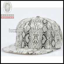 adjustable snake artificial leather 6-panel snapback hat&cap