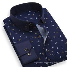2017 Spring Men Printing Shirt Cotton Dress Slim Fit Shirt