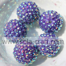 Dark Purple AB Wholesale Solid Resin Rhinestone 20*22MM Beads For Jewelry