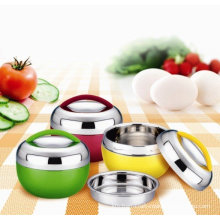 Kitchen Keep Warm Stainless Steel Food Container With Yellow, Green, Red