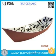 Ceramic Tiny Boat Shape Bowl Japanese Style Printing