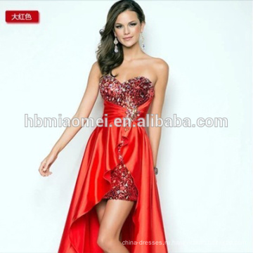 короткая длина сзади длинное сексуальное вечернее платье без бретелек рукавов eveing платье