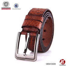 2015 new arrival full grain man pin buckle genuine brown leather belt