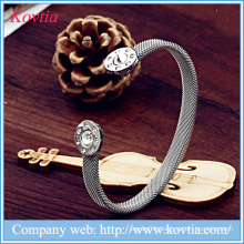 New products mesh bracelet titanium steel cuff bangles snap button opening bracelet