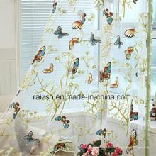 Tissu de rideau de style pastoral avec papillon brûlé