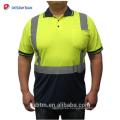 Venta al por mayor calidad garantizada 100% poliester seguridad camiseta manga larga Hola Vis polos reflectantes con bolsillo de la pluma