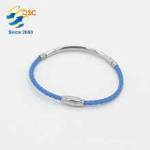 Wholesale sky blue charm braided PU leather bracelet