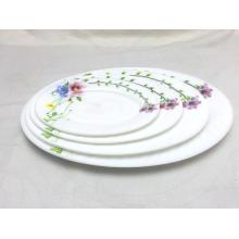 La cena de cristal del ópalo de alta calidad fija la placa oval de la placa plana