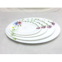 High Quality Opal Glass Dinner Sets Flat Plate Oval Plate