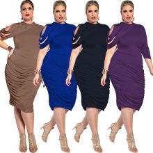 Impreso moda sólida llanura premium poliéster largo mujeres maxi mujeres vestidos más tamaño