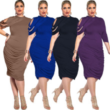Impresso sólido moda simples premium poliéster longo mulheres maxi mulheres vestidos plus size