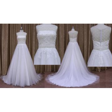 Beaded A Line Wedding Gown Bride Dress